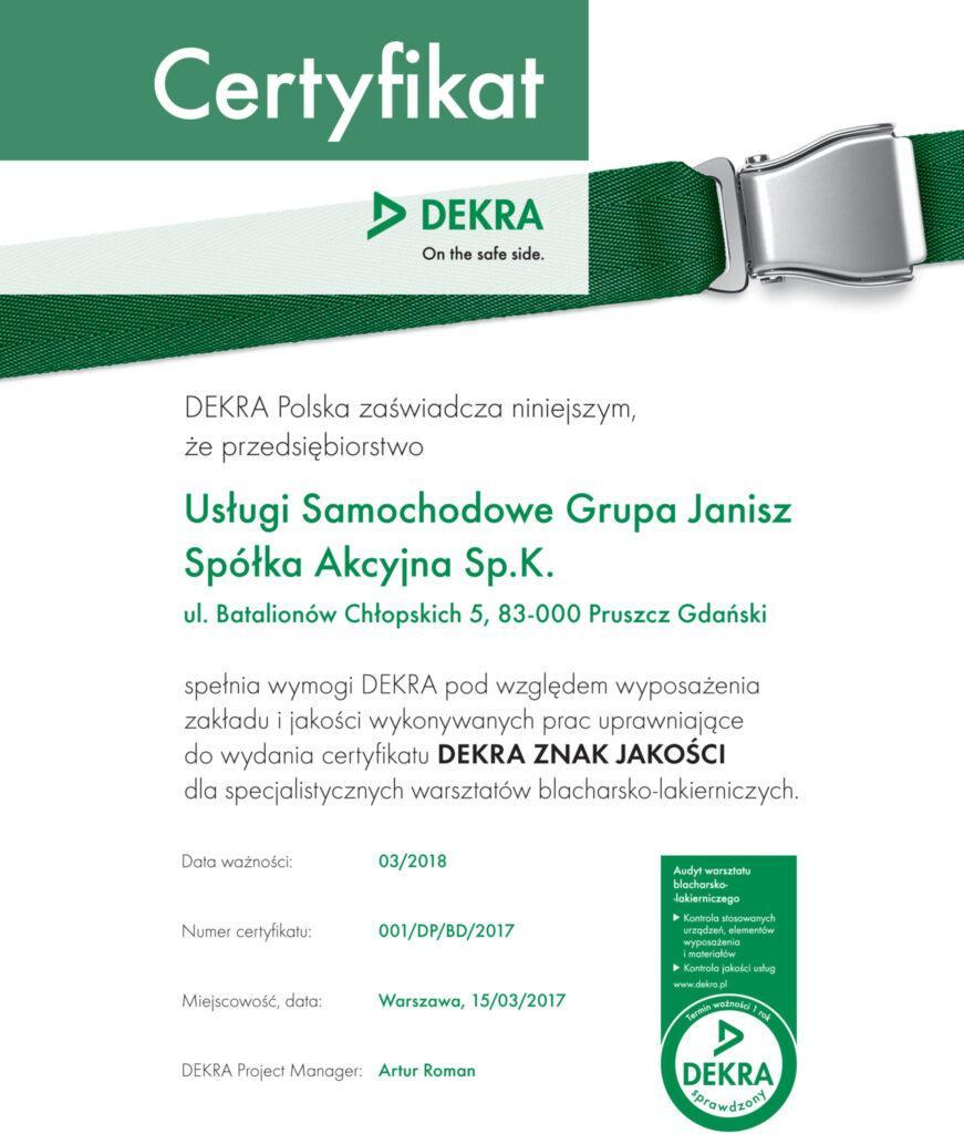 DEKRA certyfikat dlaGrupy JANISZ